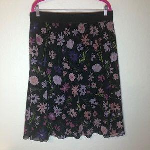 LuLaRoe Floral Pinks on Black Lola Skirt 2X EUC